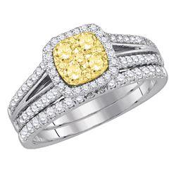 Womens Round Yellow Diamond Bridal Wedding Ring Band Set 1 Cttw 14kt White Gold - REF-90R5X