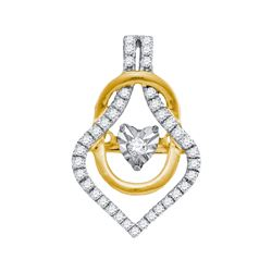 Womens Round Diamond Moving Twinkle Fashion Pendant 1/5 Cttw 10kt Yellow Gold - REF-19M5H