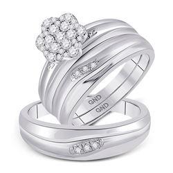 His Hers Round Diamond Cluster Matching Wedding Set 3/8 Cttw 10kt White Gold - REF-38R9X