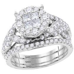 Princess Round Diamond Bridal Wedding Ring Band Set 2 Cttw 14kt White Gold - REF-142F5W