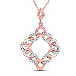 Womens Round Diamond Heart Square Pendant 1/6 Cttw 10kt Rose Gold - REF-12N9F