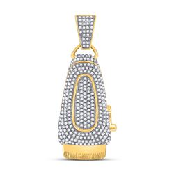 Mens Round Diamond Barber Clippers Charm Pendant 1 Cttw 10kt Yellow Gold - REF-49X9A