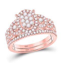 Round Diamond Bridal Wedding Ring Band Set 7/8 Cttw 14kt Rose Gold - REF-82K9Y