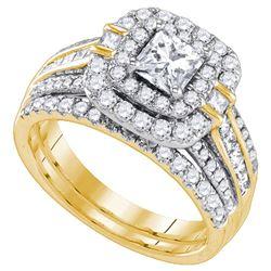 Princess Diamond Double Halo Bridal Wedding Ring Band Set 2 Cttw 14k Yellow Gold - REF-327R9X