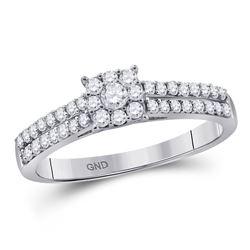 Round Diamond Cluster Bridal Wedding Engagement Ring 1/3 Cttw 14kt White Gold - REF-21X5A