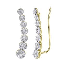 Womens Round Diamond Cluster Climber Earrings 1/2 Cttw 10kt Yellow Gold - REF-35R5X