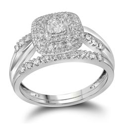 Round Diamond Bridal Wedding Ring Band Set 1/3 Cttw 10kt White Gold - REF-35M5H
