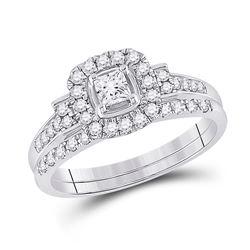 Princess Diamond Bridal Wedding Ring Band Set 1/2 Cttw 14kt White Gold - REF-49W9K