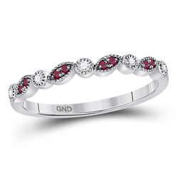 Womens Round Ruby Diamond Stackable Band Ring 1/8 Cttw 10kt White Gold - REF-9H5R