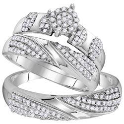 His Hers Round Diamond Cluster Matching Wedding Set 3/4 Cttw 10kt White Gold - REF-55R9X