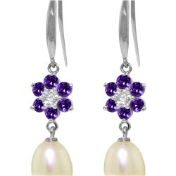 Genuine 9.01 ctw Amethyst, Pearl & Diamond Earrings 14KT White Gold - REF-44M3T