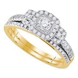 Round Diamond Bridal Wedding Ring Band Set 1/2 Cttw 14kt Yellow Gold - REF-52R9X