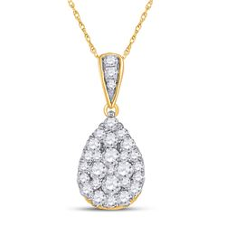 Womens Round Diamond Teardrop Cluster Pendant 1/2 Cttw 14kt Yellow Gold - REF-27A9M