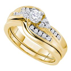 Round Diamond Bridal Wedding Ring Band Set 1/2 Cttw 14kt Yellow Gold - REF-68M5H
