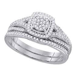 Round Diamond Bridal Wedding Ring Band Set 1/3 Cttw 10kt White Gold - REF-27Y9N