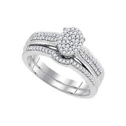 Round Diamond Bridal Wedding Ring Band Set 1/3 Cttw 10kt White Gold - REF-28F5W