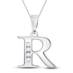 Womens Round Diamond R Initial Letter Pendant 1/20 Cttw 10kt White Gold - REF-7H5R