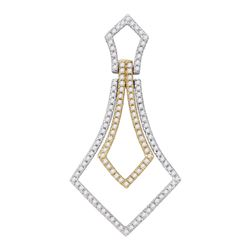 Womens Round Diamond 2-tone Pendant 3/8 Cttw 14kt Two-tone Gold - REF-24N9F