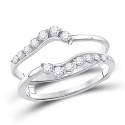 Womens Round Diamond Journey Solitaire Enhancer Wedding Band 1/3 Cttw 14kt White Gold - REF-30X5A