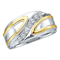 Mens Round Diamond Diagonal Row Band Ring 1/4 Cttw 14kt White Gold - REF-40A9M