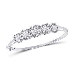 Womens Baguette Diamond Bangle Bracelet 1-5/8 Cttw 14kt White Gold - REF-181R9X