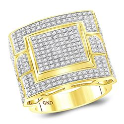 Mens Round Diamond Square Cluster Ring 1 Cttw 10kt Yellow Gold - REF-81K9Y