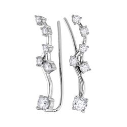 Womens Round Diamond Climber Earrings 3/4 Cttw 10kt White Gold - REF-43A5M