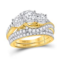 Round Diamond Bridal Wedding Ring Band Set 2 Cttw 14kt Yellow Gold - REF-230Y5N