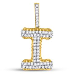 "Mens Round Diamond ""I"" Charm Pendant 1-1/3 Cttw 10kt Yellow Gold - REF-71M9H"