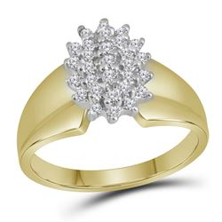 Womens Round Diamond Oval Cluster Ring 1/4 Cttw 10kt Yellow Gold - REF-19X9A