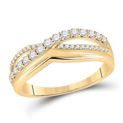 Womens Round Diamond Crossover Band Ring 1/2 Cttw 10kt Yellow Gold - REF-32M5H
