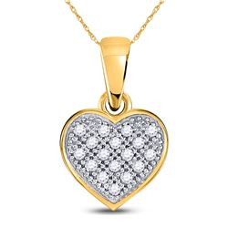 Womens Round Diamond Simple Heart Cluster Pendant 1/20 Cttw 10kt Yellow Gold - REF-4A9M