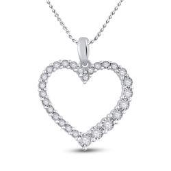 Womens Round Diamond Outline Heart Pendant 1/6 Cttw 14kt White Gold - REF-19W5K