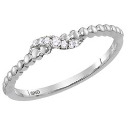 Womens Round Diamond Crossover Stackable Band Ring 1/20 Cttw 14kt White Gold - REF-13X9A