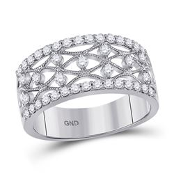 Womens Round Diamond Band Ring 5/8 Cttw 14kt White Gold - REF-47A9M