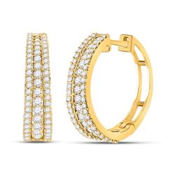 Womens Round Diamond Fashion Tapered Hoop Earrings 1 Cttw 14kt Yellow Gold - REF-76W5K