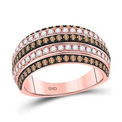 Womens Round Brown Diamond Stripe Band Ring 1 Cttw 14kt Rose Gold - REF-84Y9N
