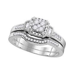 Round Diamond Cluster Bridal Wedding Ring Band Set 3/8 Cttw 10k White Gold - REF-35F5W