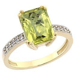 3.70 CTW Lemon Quartz & Diamond Ring 14K Yellow Gold - REF-38K9W