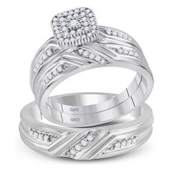 His Hers Round Diamond Square Matching Wedding Set 1/3 Cttw 10kt White Gold - REF-43M5H