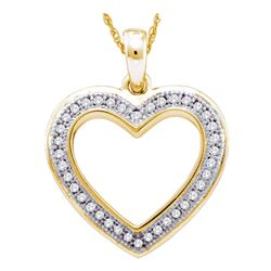 Womens Round Diamond Heart Outline Pendant 1/10 Cttw 10kt Yellow Gold - REF-10R5X