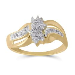 Womens Round Diamond Cluster Ring 1/5 Cttw 10kt Yellow Gold - REF-14R9X
