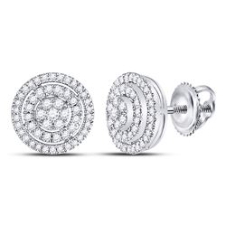 Womens Round Diamond Concentric Circle Cluster Earrings 1/2 Cttw 10kt White Gold - REF-38A9M