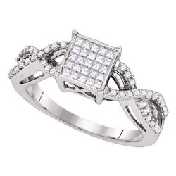 Womens Princess Diamond Square Cluster Ring 1/2 Cttw 10kt White Gold - REF-36H9R