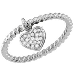 Womens Round Diamond Heart Dangle Stackable Band Ring 1/10 Cttw 14kt White Gold - REF-20R9X