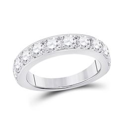 Womens Round Diamond Single Row Band Ring 1-3/4 Cttw 14kt White Gold - REF-162F9W
