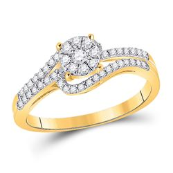 Round Diamond Cluster Bridal Wedding Engagement Ring 1/3 Cttw 10kt Yellow Gold - REF-21R5X