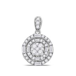 Womens Round Diamond Circle Cluster Pendant 3/8 Cttw 14kt White Gold - REF-38Y9N