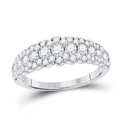 Womens Round Diamond Triple Row Anniversary Ring 1 Cttw 10kt White Gold - REF-56X5A