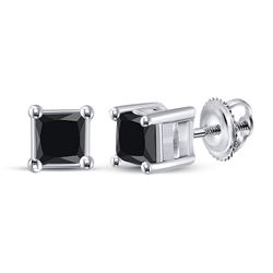 Womens Princess Black Color Enhanced Diamond Solitaire Earrings 3/4 Cttw 10kt White Gold - REF-13A9M
